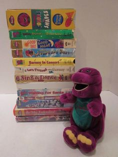 Barney Purple Dinosaur 12 VHS Lot + 1 DVD + Plush Christmas Mother Goose Colors #Lyrick
