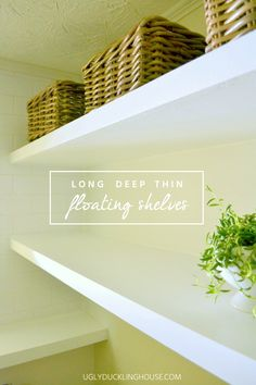 "Easy tutorial: free plans for how to create long, deep, and thin floating shelves with inexpensive materials. Only 1 1/2"" thick!"