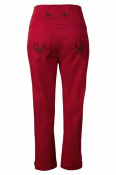 Steady Clothing - 50s High Waist Swallow 7/8 pants in Red