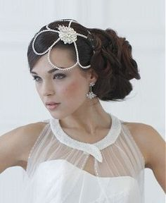 A long brown straight wavy sculptured wedding updo bride bridal jewllery hairstyle by Bundy Bundy