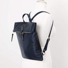 Black Leather Backpack Laptop Backpack Fold Over Backpack