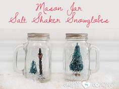 A Dollar Tree lamppost and mini trees from Michaels add a cozy scene to the inside of these salt shakers. Get the tutorial at Crafts by Courtney.   - CountryLiving.com