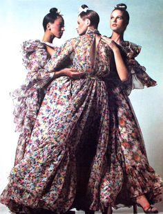 Pat Cleveland, Apollonia van Ravenstein and Pat Dow wearing chiffon dresses by Lancetti, shoes Raphael Salato, Vogue Italia, March 1972