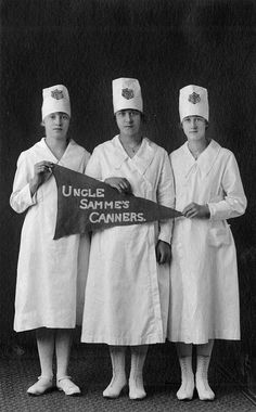 """""""Uncle Samme's Canners"""" - Tillamook County, State Champions, 1919; canning (from the OSU archives, 4-H photograph collection)"""