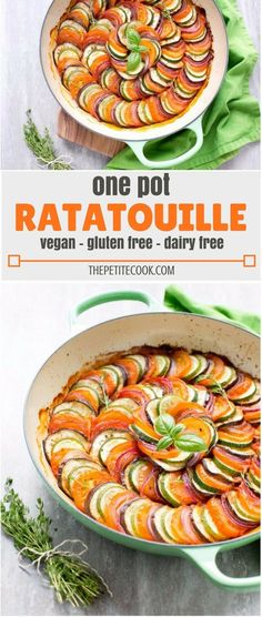 This easy Ratatouille recipe comes together quickly for an easy one-pot weeknight dinner. It's a light and fresh recipe that's naturally #glutenfree, #dairyfree and #vegan. Recipe by The Petite Cook