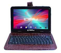 f2777690e08 Linsay 10.1 1024x600 HD Quad Core 16GB Internal Memory Tablet with Brown  Crocodile Style Keyboard Case