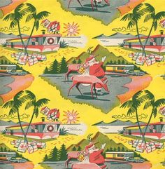 50's vintage christmas wrapping paper design with trailer home. - photo via Campbells Loft on fb