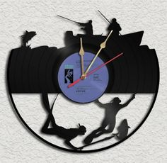 Fishing Vinyl Record Clock Recycled