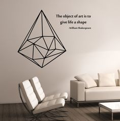 Geometric Triangle WITH QUOTE Vinyl Wall Decal Sticker Art Decor Bedroom Design Mural interior design Science Education Art educational