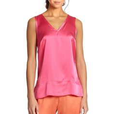 Josie Natori Essential Silk Tank Top ($25) ❤ liked on Polyvore featuring tops, v-neck tops, pink sleeveless top, sleeveless tank tops, silk top and pink tank top
