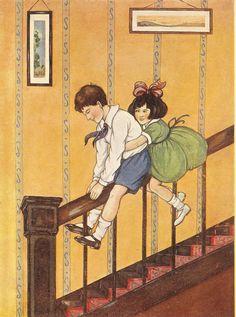 Sliding down the banister / handrail!