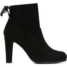 Stuart Weitzman Chunky Heel Ankle Boots (850 AUD) ❤ liked on Polyvore featuring shoes, boots, ankle booties, black, chunky heel booties, suede ankle booties, black ankle booties, suede ankle boots and suede booties