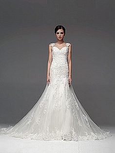 Allover Lace Wedding Dress with Cap Sleeves - USD $235.99