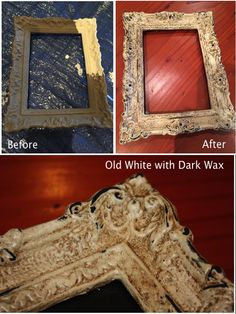 Modern Shabby Chic photo frame painted with Old White Annie Sloan Chalk Paint and finished with a layer of Dark Wax