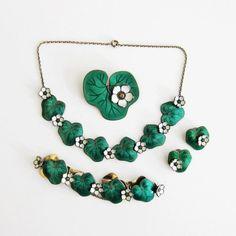 Vintage David-Andersen Waterlily Parure Green Necklace Bracelet Earrings Brooch Sterling Enamel Norway