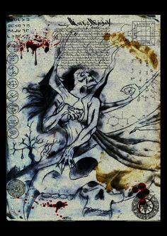 Titre : L'invocation des milles masques Technique : crayon à papier retravaillée numériquement