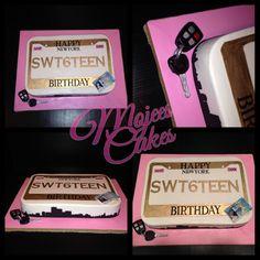 Sweet16 license plate cake