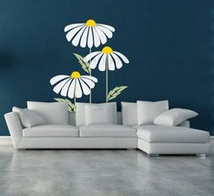 Loves me loves me not set of daisies wall decal por ValdonImages