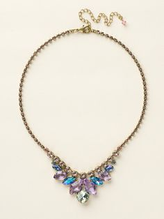 Petite Multi-Cut Crystal Bib Necklace in Spring Rain by Sorrelli - $170.00 (http://www.sorrelli.com/products/NCY10AGSPR)