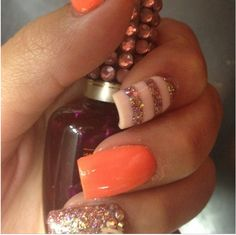 Orange nails never look so good c: #cute #acrylic #nails #pretty