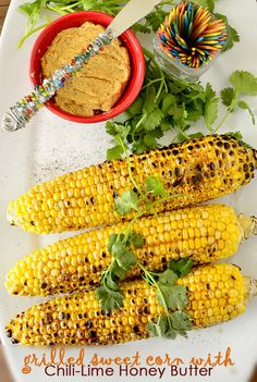 Who else is getting excited for sweet corn season? This Grilled Sweet Corn with Chili Lime Honey Butter from Iowa Girl Eats is a great way to kick things off once it hits the markets. Side Dish Recipes, Veggie Recipes, Dinner Recipes, Grilling Recipes, Cooking Recipes, Grilling Ideas, Cooking Ideas, Food Ideas, Healthy Summer Recipes