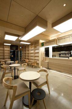 Cafe Ato by Design BONO, Seoul hotels and restaurants Retail Interior, Restaurant Interior Design, Cafe Bar, Cafe Restaurant, Seoul Cafe, Japanese Modern House, Decoration Restaurant, Cosy Cafe, Cafe Concept