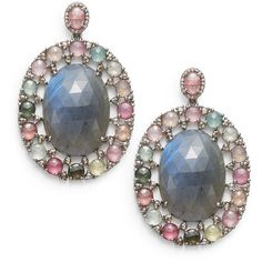 Bavna Diamond, Tourmaline, Labradorite & Sterling Silver Oval Drop... (¥194,945) ❤ liked on Polyvore featuring jewelry, earrings, tri color earrings, tourmaline earrings, post earrings, sterling silver drop earrings and multi color earrings