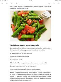 Salada de vagem com tomate e espinafre
