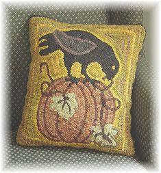 Crow ON A Pumpkin Primitive Fall Hooked RUG Hooking Paper Pattern Punch Needle | eBay