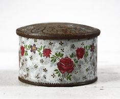 Old LITTLE french TIN Box Flowers Shabby chic by RueDesLouves on Etsy.