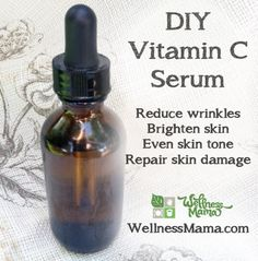 DIY Vitamin C Serum. Great for fading facial pigmentation (Melasma) and sun damage, reduces wrinkles, brightens skin, evens skin tone and repairs skin damage.