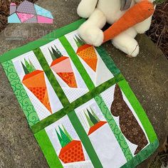 Spring is almost here and bunnies are everywhere! Sandy at Gray Barn Designs caught one bunny crunching his way through a carrot stash! Star Quilt Patterns, Paper Piecing Patterns, Star Quilts, Mini Quilts, Quilt Blocks, Christmas Runner, Grey Quilt, Table Runner Pattern, Quilted Wall Hangings