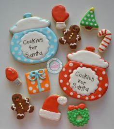 We can't get presents without leaving the Cookies for Santa!!Sweet Little set is the perfect way to leave Santa his cookies.Cookies are handmade and decorated just for you, never pre-made or frozen.Set comes with:2 Cookie Jars (4inches each)24 Variety of minis:-Gingerbread man, trees, lights, gloves, presents, santa hats, candy canesCookies will come sealed for max freshness and protection. Please make a note of date wanted for delivery, otherwise the...