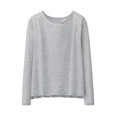 WOMEN Modal Linen Long Sleeve Striped T-Shirt