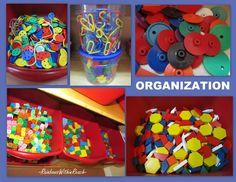 Organize fine motor materials, fine motor manipulative materials, preschool shelves organized