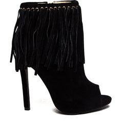 Grommet Girl Fringed Peep-Toe Booties BLACK ($42) ❤ liked on Polyvore featuring shoes, boots, ankle booties, ankle boots, black, black high heel booties, high heel stilettos, peep toe bootie, peep toe booties and black fringe boots