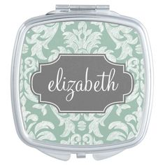 Mint and Gray Damask Pattern Custom Name