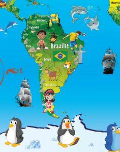 DĚTSKÉ DEKORACE | Mořský svět a piráti | Samolepící MAPA SVĚTA 130 x 80 cm | Shopni si - Nejen samolepicí dekorace do bytu World Geography, Maputo, Continents, Indiana, Science, Children, Cards, Movie Posters, Globes