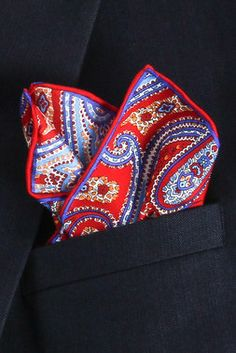 Red Imperial Paisley Pocket Square #getdressed