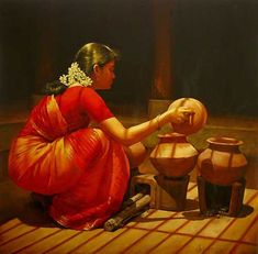 The way the Indian women in my novels cook. www.christinelindsay.com photo from  25 Beautiful Rural Indian Women Paintings by Tamilnadu artist ilayaraja