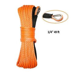 """Synthetic Winch Rope,ELUTO 49'x1/4"""" 7000+LBs Winch Rope Line Cable with Sheath Winches for Winches SUV ATV UTV KFI Vehicle Boat Ramsey Car,Orange - Package: 1 x Winch Rop Package weight: 400g"""