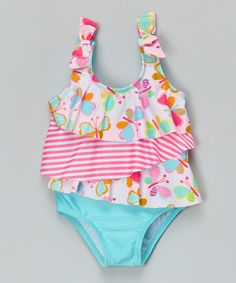 Look at this #zulilyfind! Blue & Pink Butterfly One-Piece - Infant & Toddler #zulilyfinds by ABSORBA