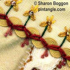 CRAZY QUILTING: An example of 'Zigzag Chain Stitch' used as a seam treatment over ric-rac braid on a crazy quilt block. Place each loop at right angles to the previous loop to create the zigzag line. Crazy Quilting, Crazy Quilt Stitches, Crazy Quilt Blocks, Crazy Patchwork, Chain Stitch Embroidery, Hand Embroidery Stitches, Silk Ribbon Embroidery, Embroidery Applique, Embroidery Patterns