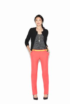 Add a pop of color to your black and white office look.
