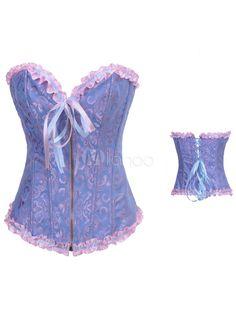 2cb8e1cddb Blue Matte Satin Pleated Corsets For Women