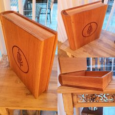 Wooden book box made with American Oak.  Made by; Trond Olsen