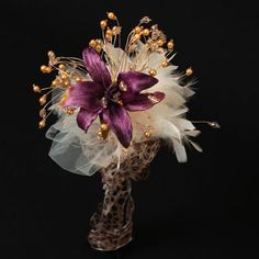 Forever Treasures Leopard bridesmaid beaded bouquet. Handcrafted and unique for your special day.