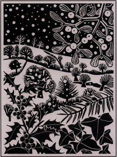 'December' by Carry Akroyd from John Clare's 'The Shepherd's Calendar' (linocut) Christmas Illustration, Illustration Art, Linoprint, Guache, Motif Floral, Christmas Art, Christmas Landscape, Celtic Christmas, White Christmas