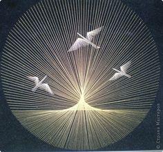 Изонить - Птицы на закате