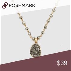 """NWT Anthro grey druzy stone necklace BNWT! Retails for $78! 18"""" with 3"""" extension. Ships same of next day. Price firm. Anthropologie Jewelry Necklaces"""